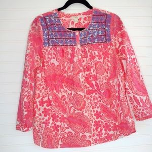 J. Crew Embroidered Cotton Peasant Top